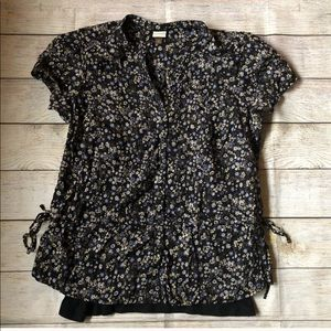 Floral Button Down Top with Black Knit Cami
